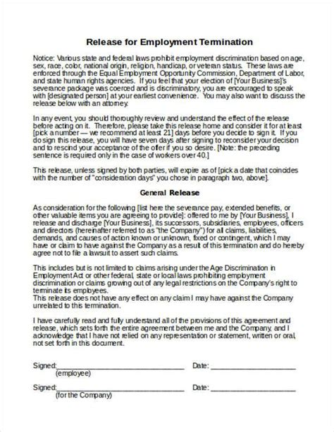 Release Form Employment Termination Printable Employment Termination Form Free Word Templates