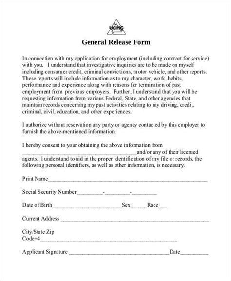 Release Form Employment Termination Release Of Employment Information Form
