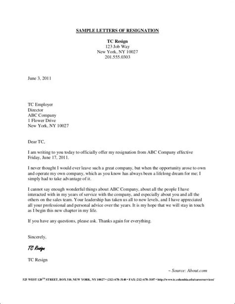 Resignation Letter Self Employment Resignation Letter Image Cvtips