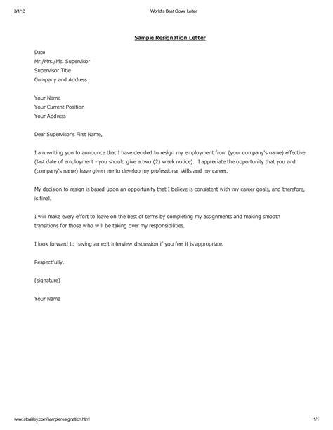 Resignation Letter Self Employment Resignation Letter Sample Template Examples Formal