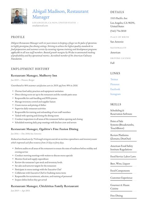 restaurant manager resume examples free resume templates google docs