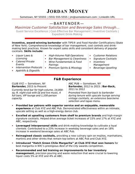 resume bartender best restaurant bartender resume example livecareer