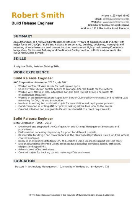 resume build release engineer build and release engineer profiles jobs skills - Release Engineer Sample Resume