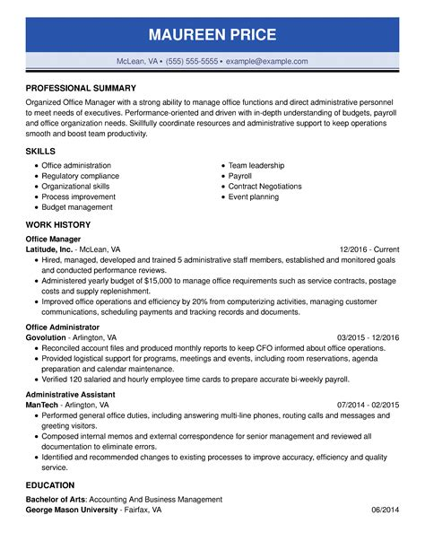 resume builder for office manager office manager resume example free professional document - Office Manager Resume Template