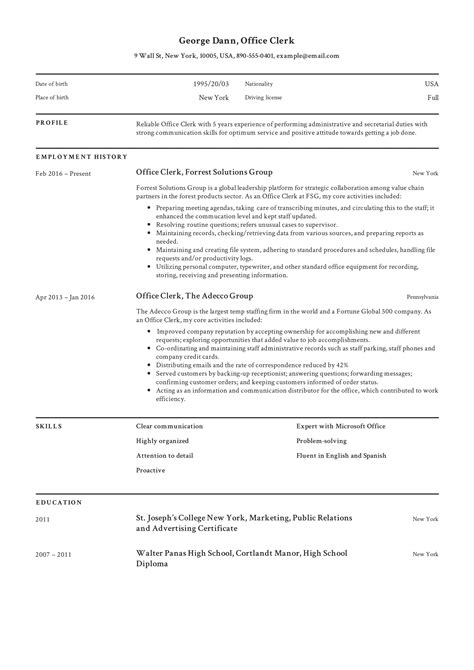 Resume Clerk Malaysia General Clerk Sample Resume Scribd