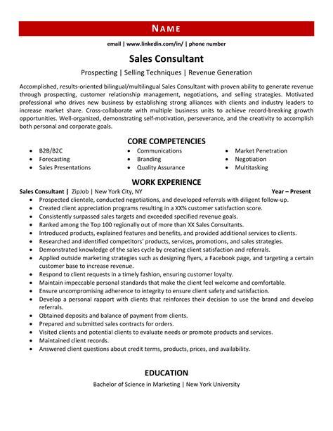 Resume Consultant Sales Consultant Resume Example