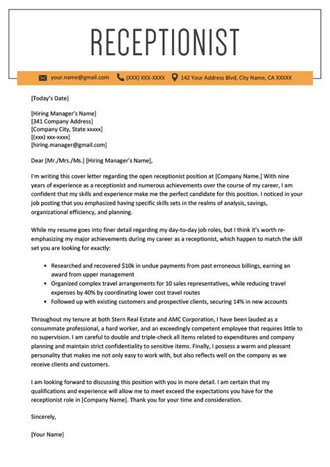 resume cover letter examples receptionist best receptionist resume example livecareer