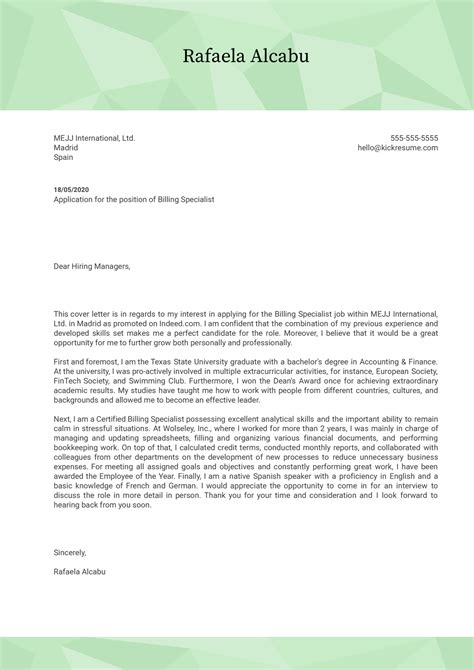 cover letter for medical field