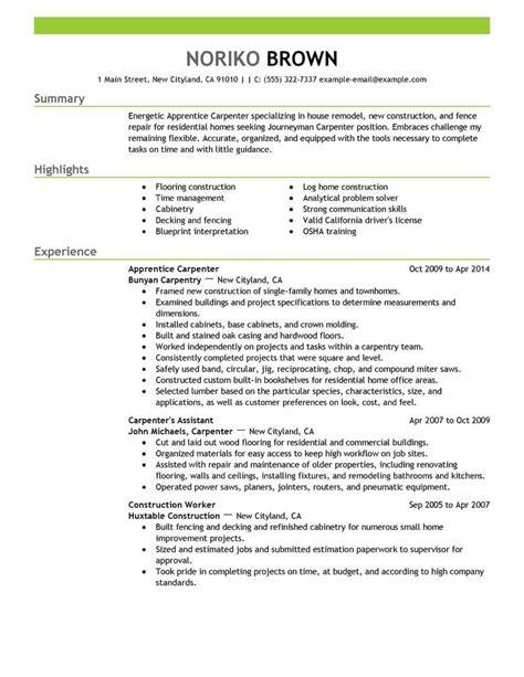 resume cover letter samples carpenter carpenter resume sample monster - Sample Carpenter Resume