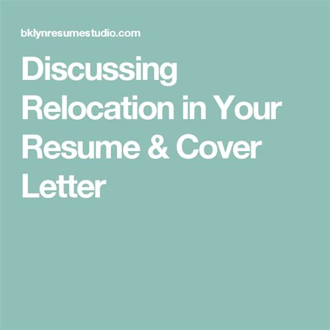 Resume Cover Letter For Relocation Discussing Relocation In Your Resume Cover Letter