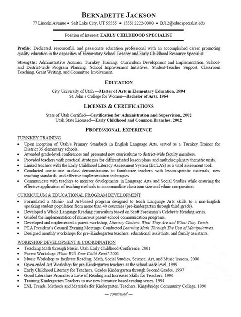 Resume Cover Letter For Early Childhood Education Early Childhood Specialist Resume Workbloom