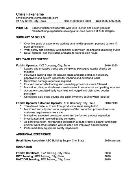 forklift operator sample resume full size of resumefind resume