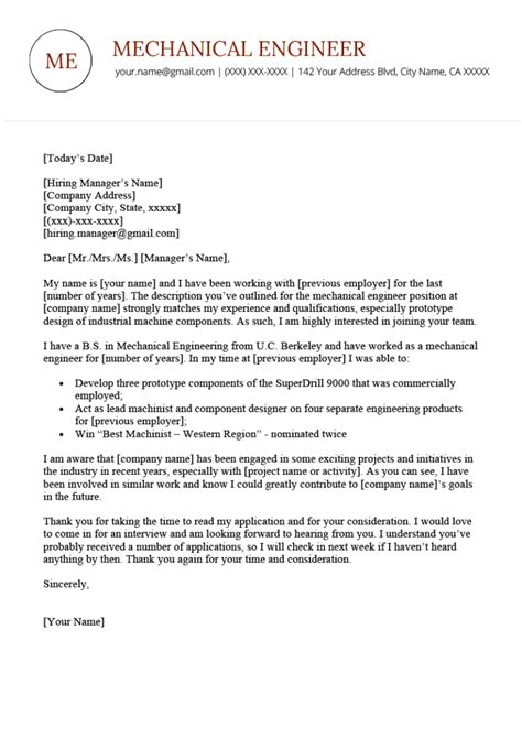 Resume Cover Letter Sample Mechanical Engineer Mechanical Engineer Cover Letter Sample Monster