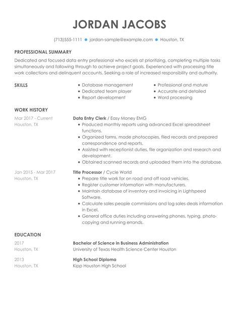 resume data entry examples data entry resumes resume samples resume now - Sample Resume For Data Entry