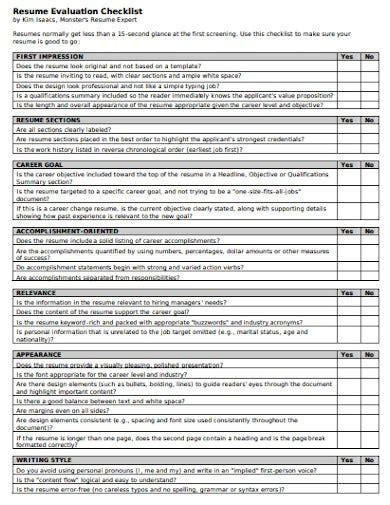 resume evaluation checklist download resume template for free formxls
