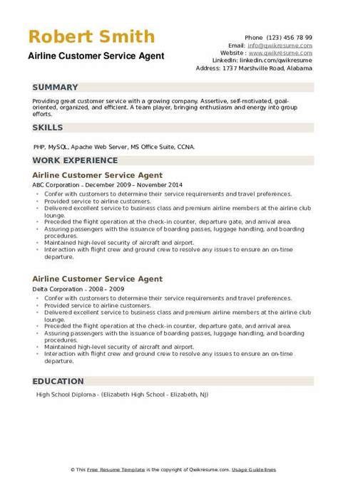 Resume Example Travel Agent Airline Customer Service Agent Resume Example