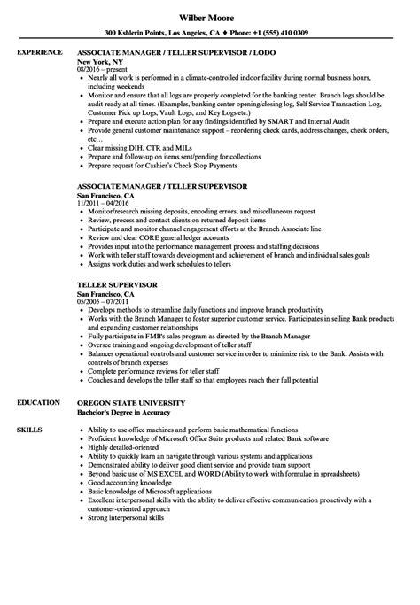 Resume Example Bank Teller Bank Teller Supervisor Resume Example