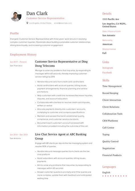 Resume Example Consulting Customer Service Representative Resume Example