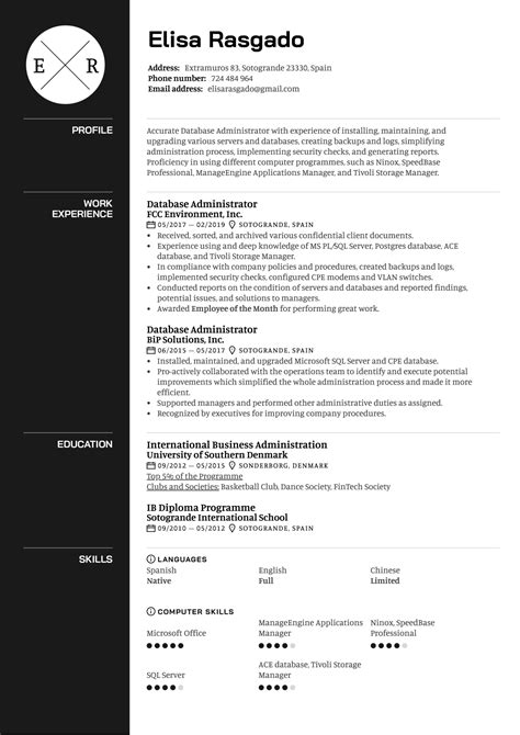 Resume Example Business Administration Database Administration Resume Example