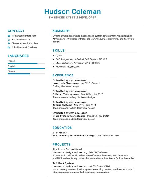 Resume Example Embedded Software Engineer Embedded Software Developer Resume Sample Livecareer