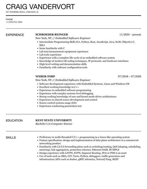 Resume Example Embedded Software Engineer Embedded Software Engineer Resume Sample Livecareer