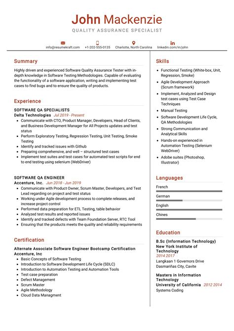 Resume Example Quality Assurance Quality Assurance Resume Example