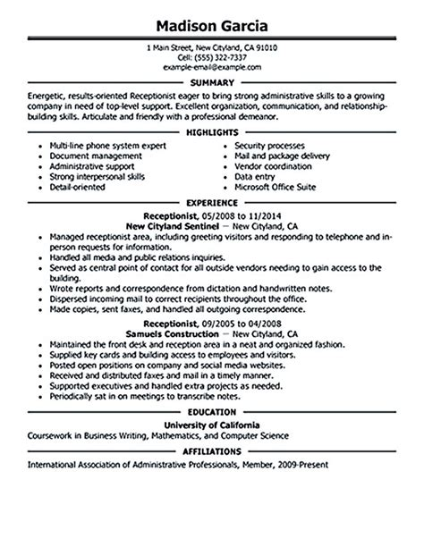 resume example for receptionist position email letter reply