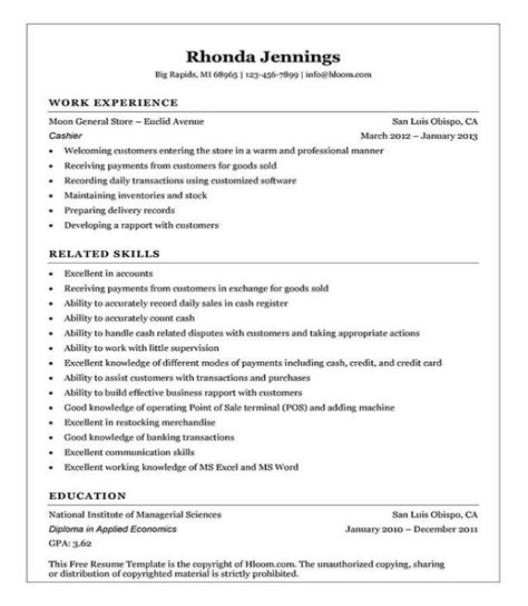 Resume Examples Mcdonalds Cashier 16 Free Cashier Resume Templates Hloom
