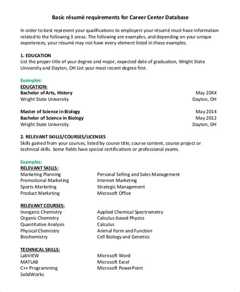 Resume Examples For Recent College Graduates 21 Basic Resumes Examples For Students Internships