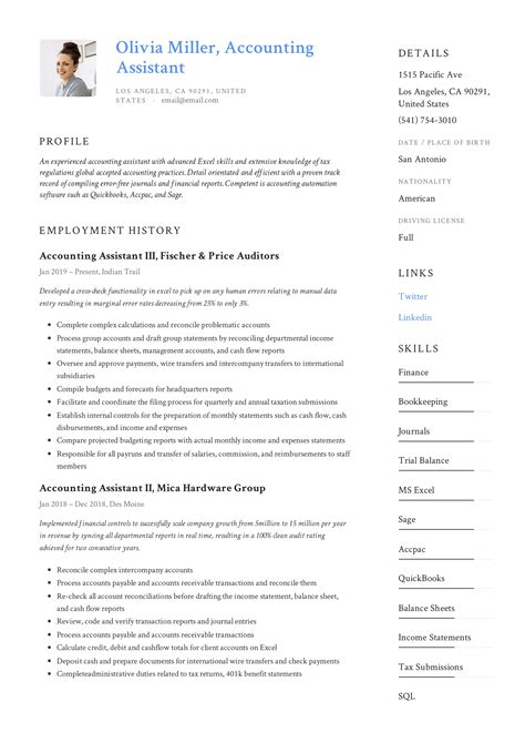 Resume Examples For Highschool Students With No Experience 4 Assistant Accountant Resume Samples Examples Download