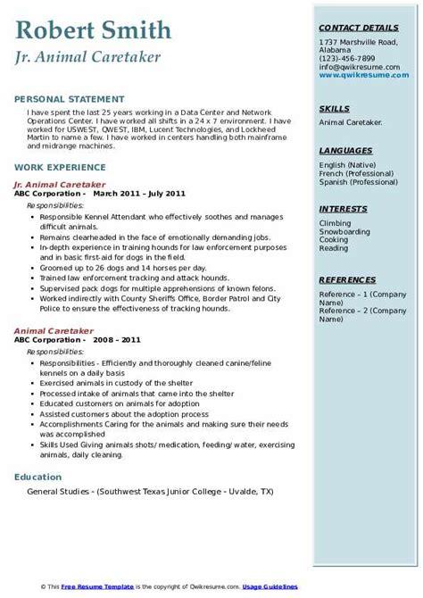 resume examples for animal jobs animal caretaker resume samples jobhero