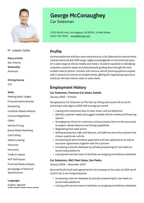 resume examples for car sales car sales resume example resume and cover letter - Car Salesman Resume