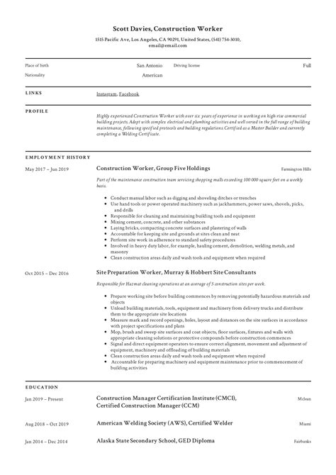 resume examples for laborer jobs construction laborer resume example cj coakley