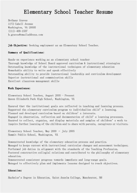 Resume Examples For Teachers Elementary School Teacher Resume Template Monster