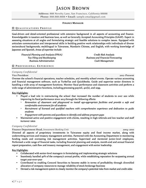 Resume Examples Finance Director Accounting Internship Abroad - Sample director of finance resume