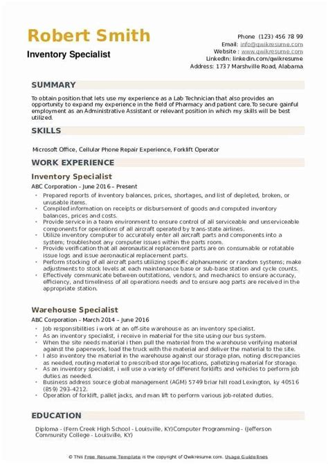 resume examples inventory control specialist inventory specialist job description o resumebaking
