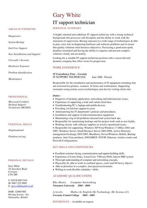 resume examples help desk technician it technician resume example with summary statement