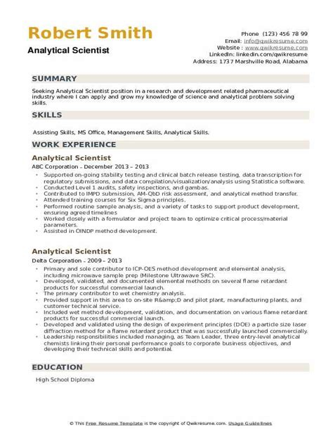 analytical skills resumes