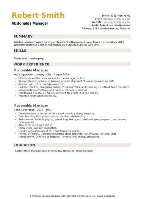 Resume Examples Mcdonalds Cashier Mcdonalds Manager Job Description Example Job