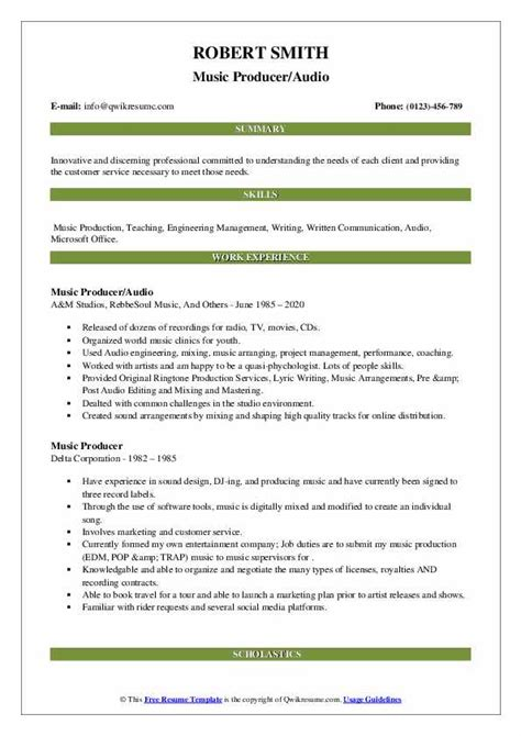 Resume Examples Video Production Music Production Resume Samples Jobhero