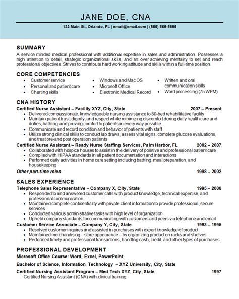 Resume Examples Cna Job Nurse Assistant Cna Resume Example