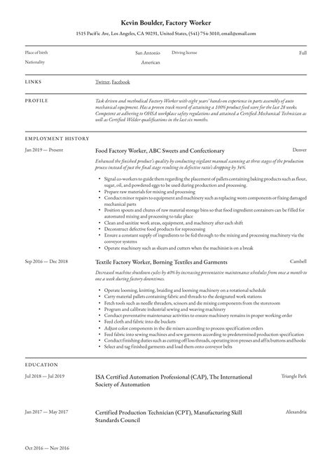 sample resume for production worker production worker job