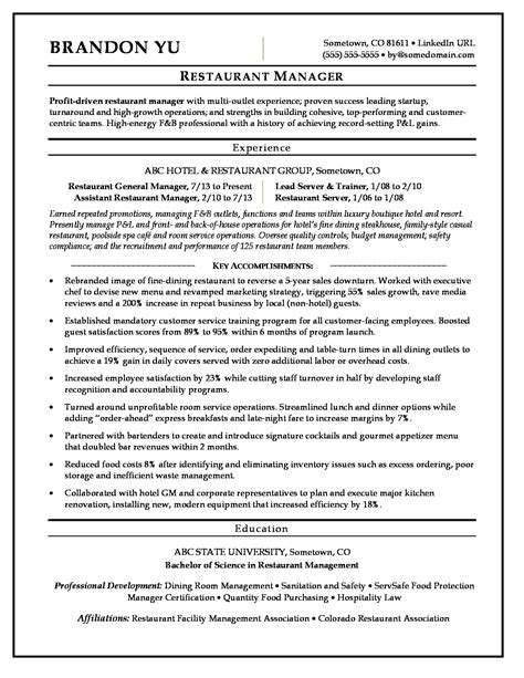 Resume Examples Restaurant Manager Restaurant Manager Resume Sample Dayjob