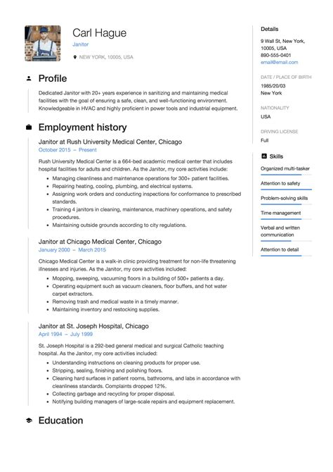 Resume Examples For Janitor Position Sample Janitorial Janitors Cleaning