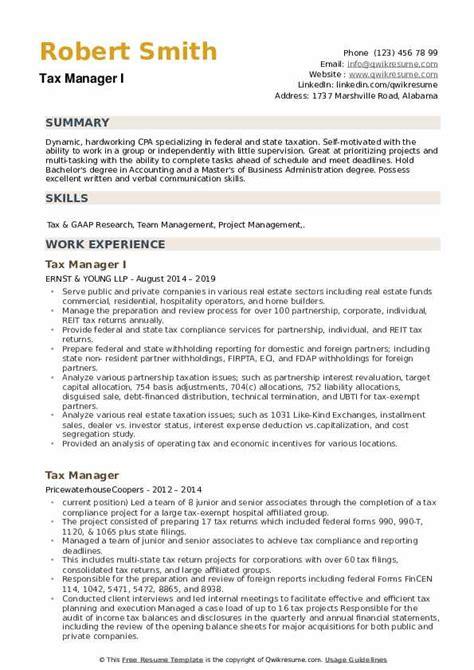 resume examples tax preparer tax manager resume sample best format o resumebaking - Tax Preparer Resume Sample