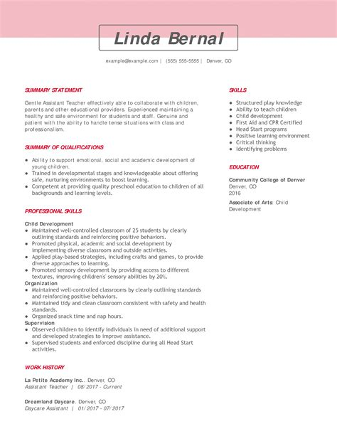 Resume Examples For Preschool Teacher Assistant Teacher Resume And Cover Letter Examples