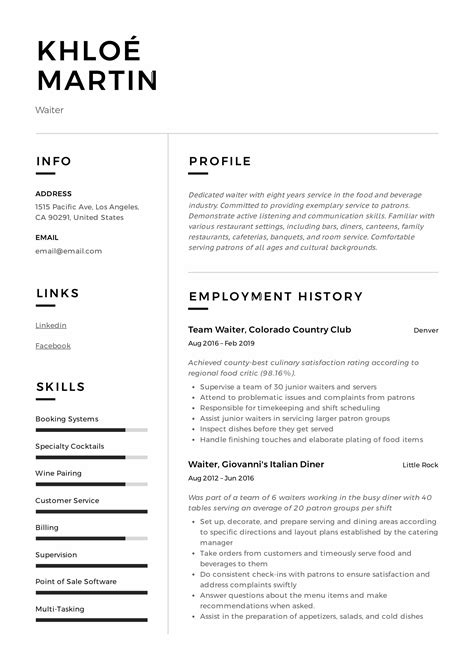 resume examples of waitress waiter waitress resume and cover letter examples cover letter examples for waitress