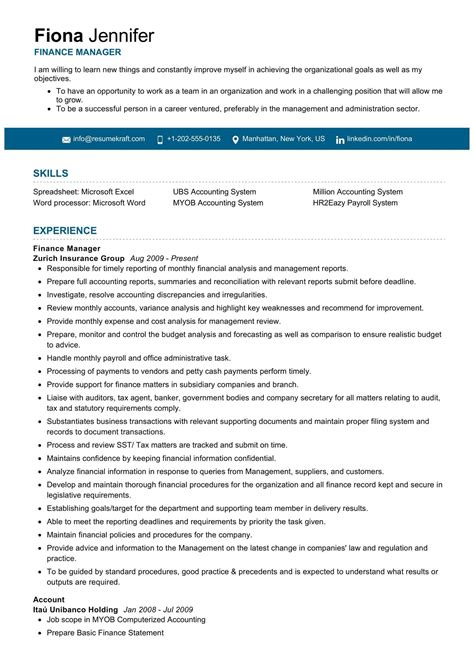 Resume Financial Manager Financial Manager Resume Example