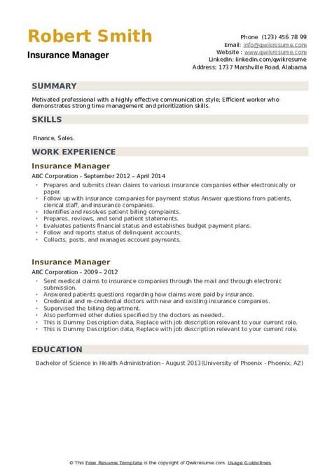 Resume Financial Manager Insurance Manager Resume Example