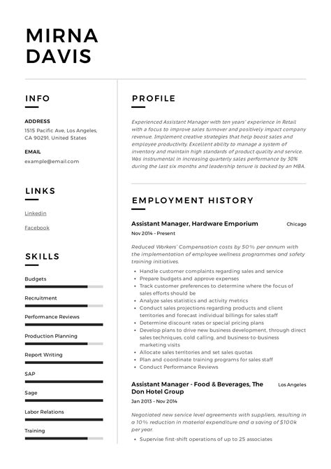 Resume For Assistant Manager Restaurant Assistant Manager Resume Sample My Perfect Resume